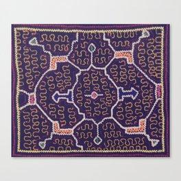 Song to Bring Wealth & Prosperity - Traditional Shipibo Art - Indigenous Ayahuasca Patterns Canvas Print