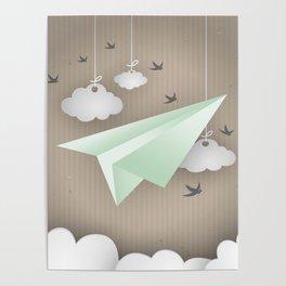 Green Paper Plane Poster