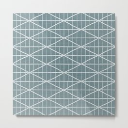 Mint green brushed crossed lines pattern Metal Print