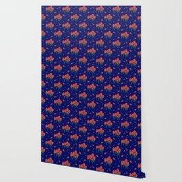 Floral-Indian Paintbrush-Blue Wallpaper