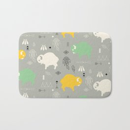 Seamless pattern with cute baby buffaloes and native American symbols, gray Bath Mat