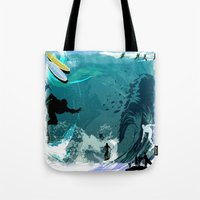 surfing Tote Bags featuring Surfing by Robin Curtiss