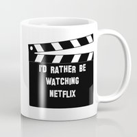 netflix Mugs featuring Netflix Killed Hollywood by Katie Gaughan