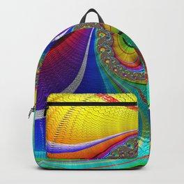 Multicolor Wave Fractal  Art Backpack