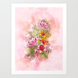 Lilies Bunch #floral #watercolor Art Print