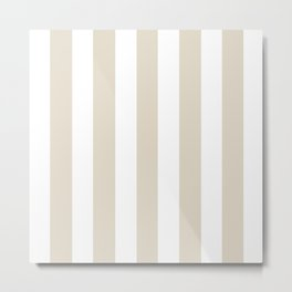 Bone grey - solid color - white vertical lines pattern Metal Print