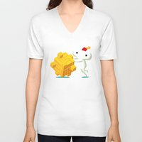 katamari V-neck T-shirts featuring The Prince with a FEZ by MeleeNinja