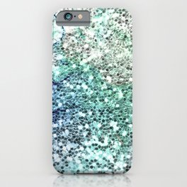 Glitter Sparkling Blue Green Turquoise Teal Patterns iPhone Case