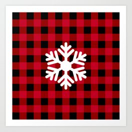 Red Buffalo Check - snowflake - more colors Art Print
