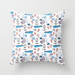 Modern hand painted pink blue watercolor nautical pattern Throw Pillow