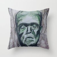 frankenstein Throw Pillows featuring Frankenstein by Shellie Mix