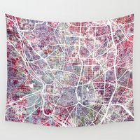 madrid Wall Tapestries featuring Madrid map by MapMapMaps.Watercolors