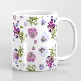 Pattern with pansies on a white background  Coffee Mug