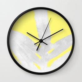 Green Fern on Lemon Yellow Inverted Wall Clock