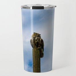 Owl sitting on a pole Travel Mug