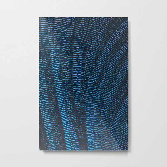 Dragonfly shiny vibrant blue wings Metal Print