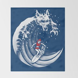 Little Red Surfing Hood Throw Blanket