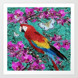 TROPICAL ORCHIDS RED MACAW PARROT JUNGLE ART Art Print