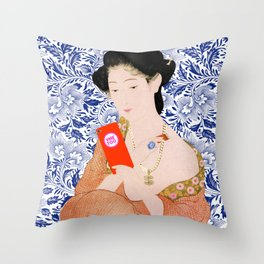 confused timeline with japanese lady Throw Pillow