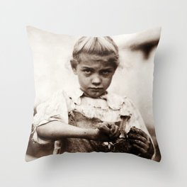 Young Oyster Shucker - Lewis Hine - 1913 Throw Pillow