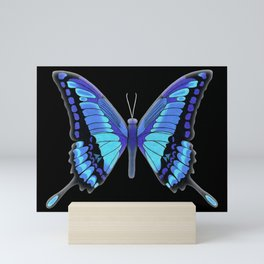 blue butterfly with glow Mini Art Print
