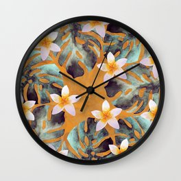 Tropical Monstera Leaf and Plumeria Flower Pattern Wall Clock