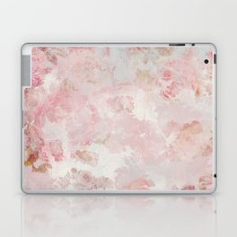Vintage Floral Rose Roses painterly pattern in pink Laptop & iPad Skin