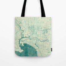 Melbourne Map Blue Vintage Tote Bag