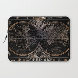 world map old vintage black Laptop Sleeve