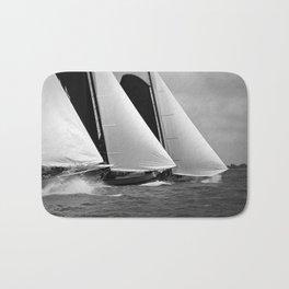 Skutsjes sailing vessels in a regatta Bath Mat