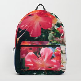Sky Flowers Painting. Pink Tropical-Looking Flowers in a Hanging Flower Pot Captured from Bellow Backpack