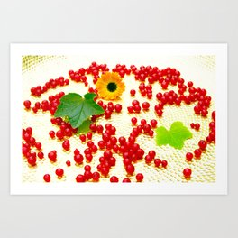 Red currants on a golden plate Art Print