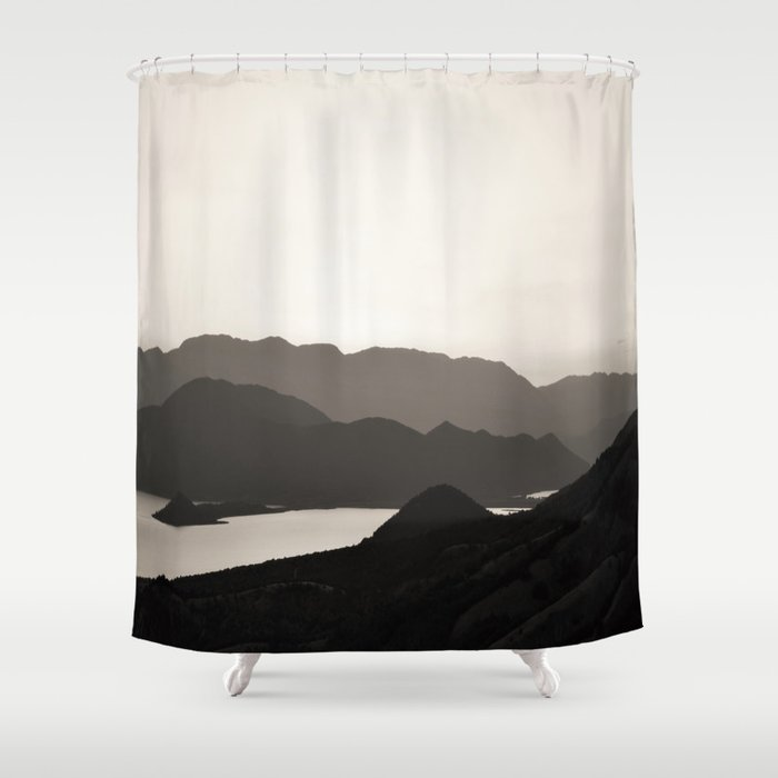 Mountains and a lake Shower Curtain