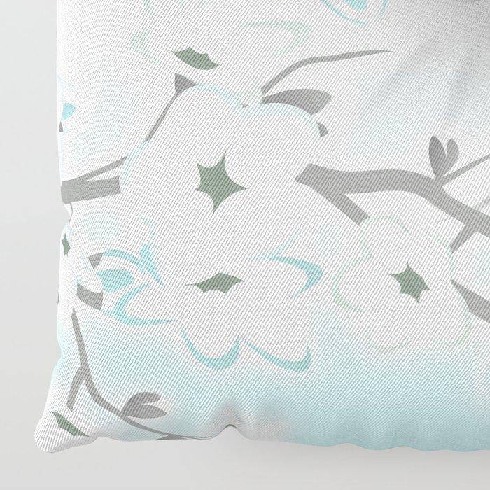 Cherry Blossoms Mint White Floor Pillow