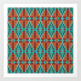 Orange Red Aqua Turquoise Teal Native Mosaic Pattern Art Print