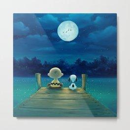 snoopy night moon Metal Print