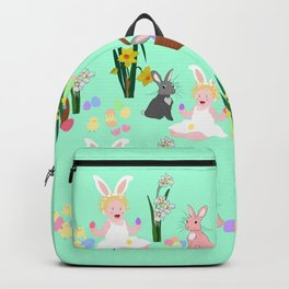 Easter pattern with babies, bunnies, eggs and daffodils Backpack