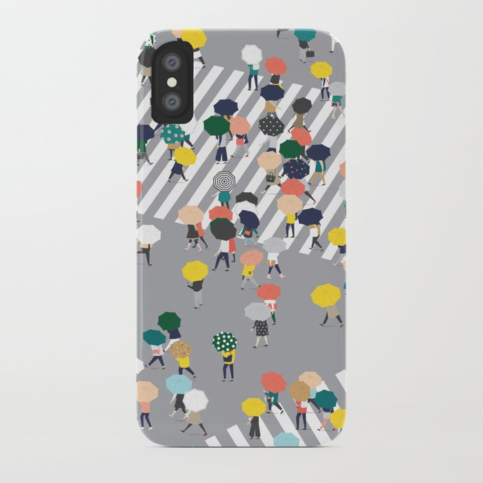 Crossing The Street on a Rainy Day - Grey iPhone Case