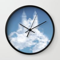 castle in the sky Wall Clocks featuring Castle in the Sky by exit2wonderland