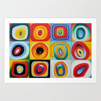 kandinsky Art Prints featuring Farbstudie Quardrate by Wassily Kandinsky by designforme