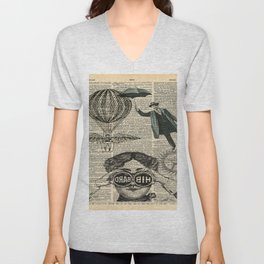 newspaper print dictionary page binoculars hot air balloon victorian steampunk Unisex V-Neck