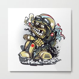 Smoke Skull Driver Moped - Texas cigar Metal Print