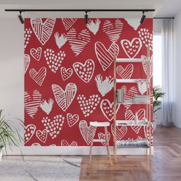 Herats red and white pattern minimal valentines day cute girly gifts hand drawn love patterns Wall Mural