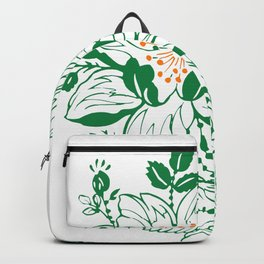 Japanese Style Green with Orange Flowers Backpack