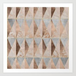 Copper Foil and Blush Rose Gold Marble Triangles Argyle Art Print