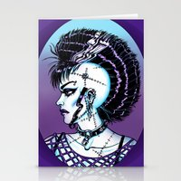 punk rock Stationery Cards featuring Punk Rock Girl by Eeriette