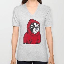 Red Hoodie Boston Terrier Unisex V-Neck
