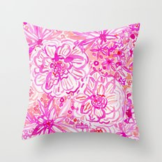 BOOM CLAP Tropical Pink Coral Floral Throw Pillow