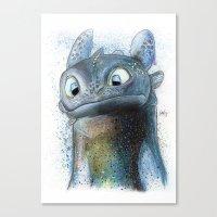 toothless Canvas Prints featuring Toothless by Luke Jonathon Fielding