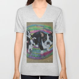 Boston Terrier and Puppies Unisex V-Neck
